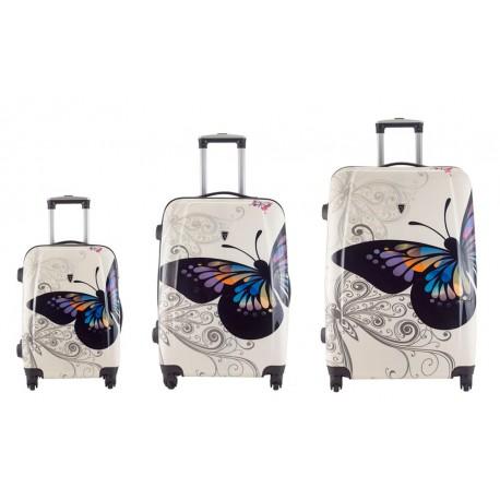 Komplet walizek - MADISSON model 16820A BIAŁY MOTYL