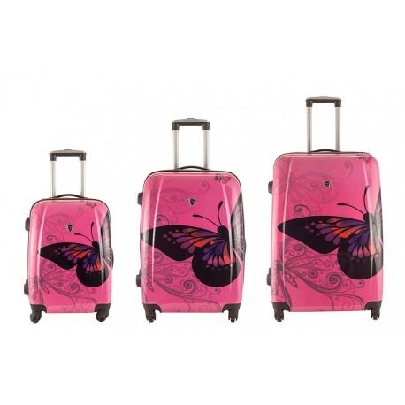 Komplet walizek - MADISSON model 16820A RÓŻOWY MOTYL